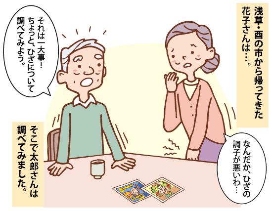 浅草・酉の市から帰ってきた花子さんが膝の調子が悪いというので、夫の太郎さんが調べることになったイラスト