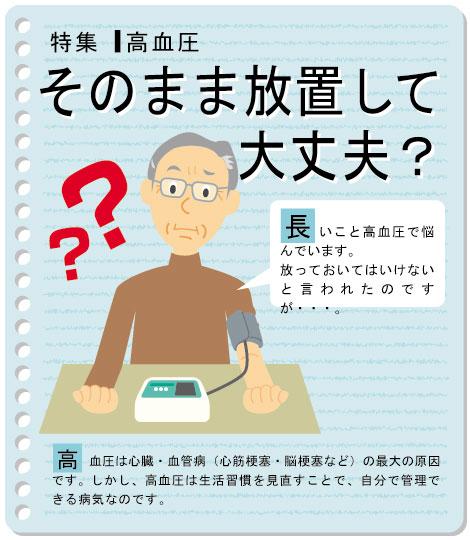 【そのまま放置して大丈夫?】(Q:)長いこと高血圧で悩んでいます。放っておいてはいけないと言われたのですが・・・。(A:)高血圧は心臓・血管病(心筋梗塞・脳梗塞など)の最大の原因です。しかし、高血圧は生活習慣病を見直すことで、自分で管理できる病気なのです。